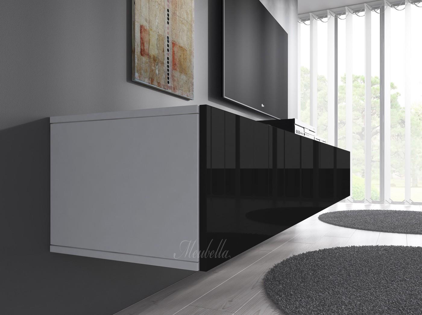 Tv meubel flame 3   xl   zwart   wit   200 cm   tv meubels ...