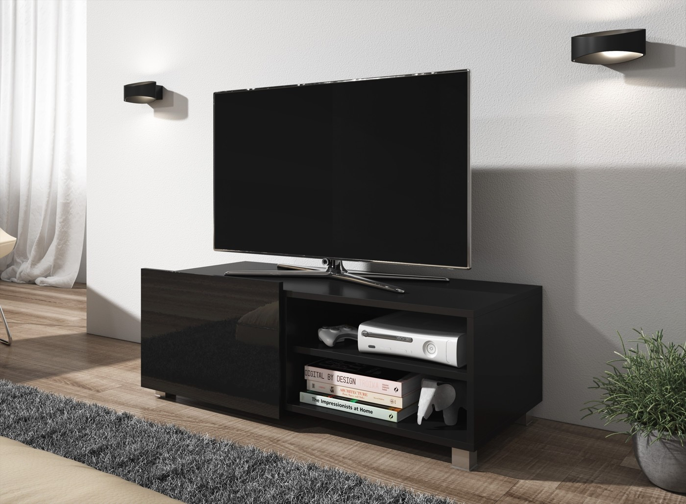Tv Meubel Zwart Hoogglans.Tv Meubel Galia Zwart 100 Cm Meubella