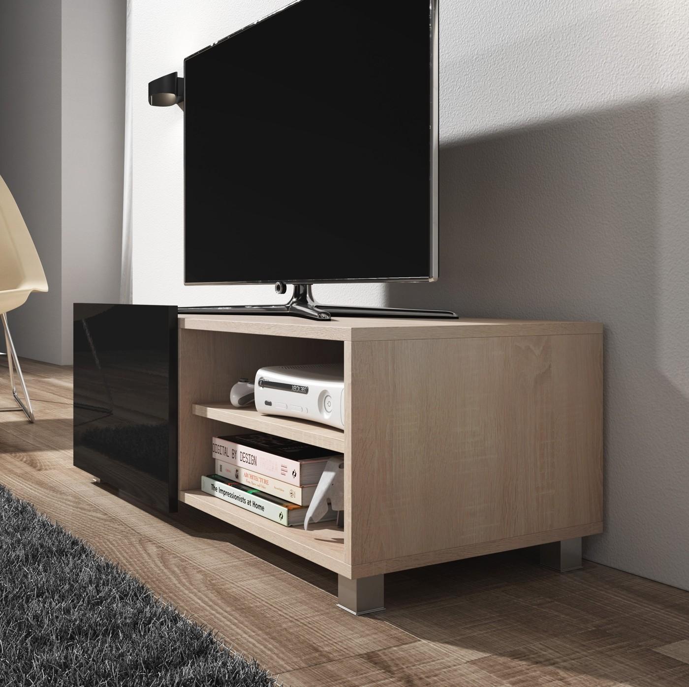 Tv meubel galia zwart eiken 100 cm meubella for Showroommodellen design meubels