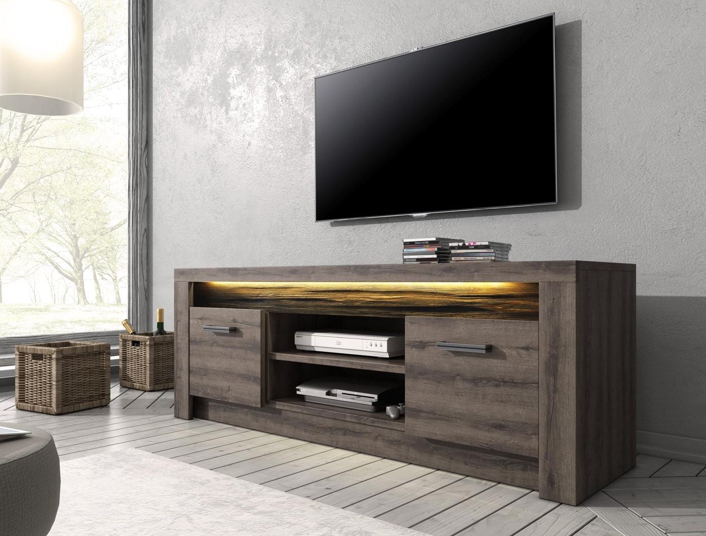 Tv meubel invido donker eiken cm met led verlichting
