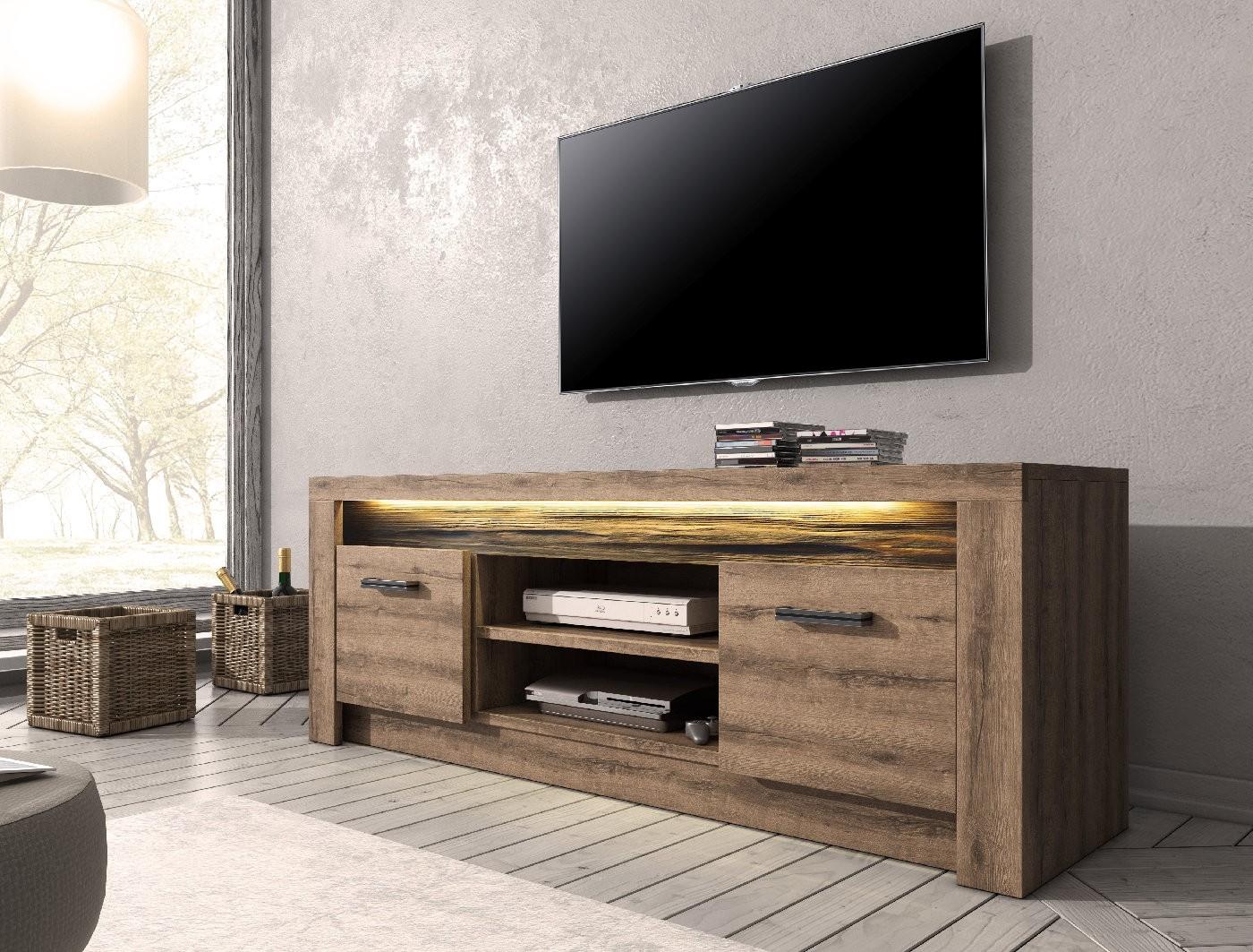 tv meubel invido eiken 137 cm met led verlichting