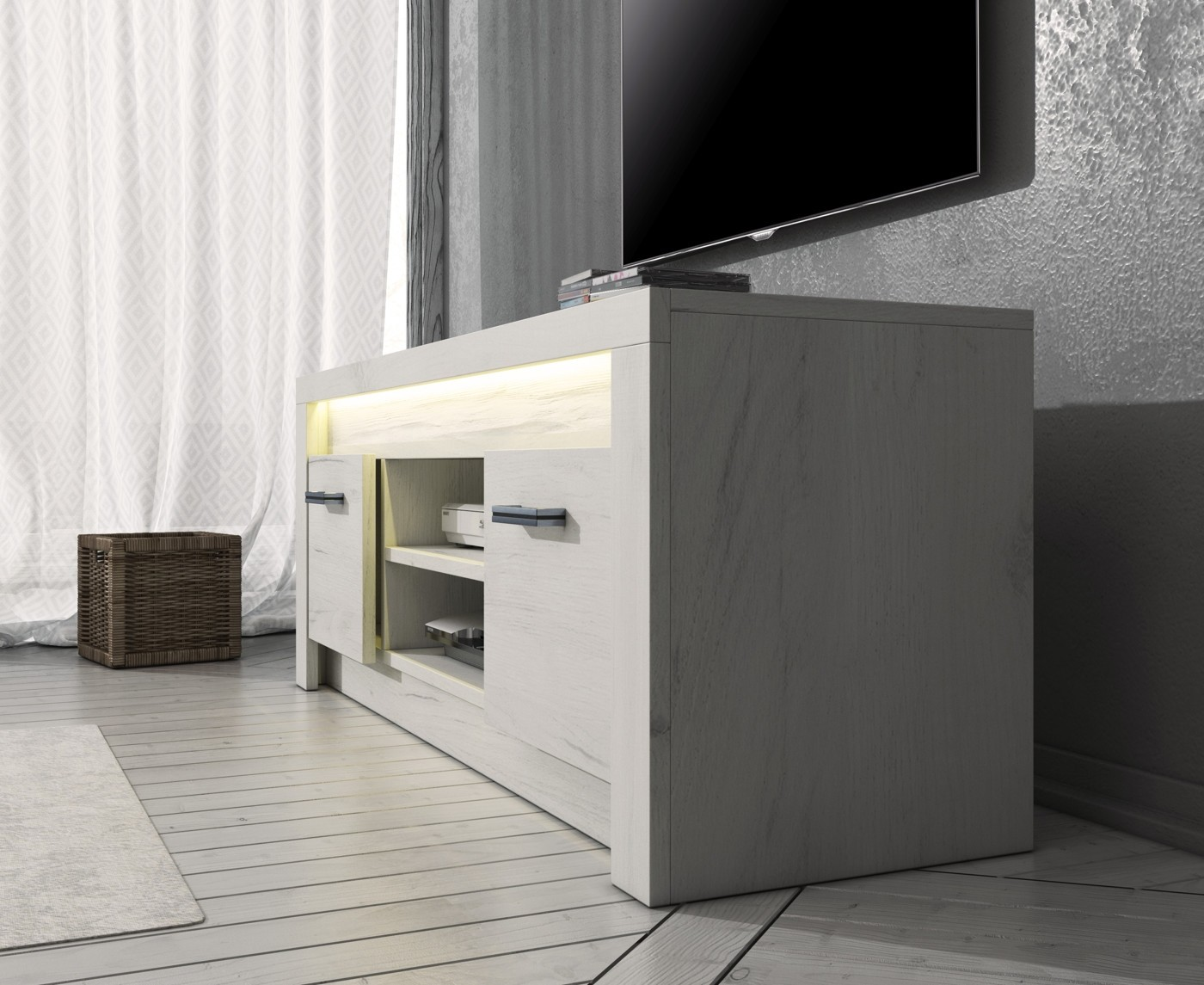 Tv meubel invido wit 137 cm met led verlichting for Showroommodellen design meubels