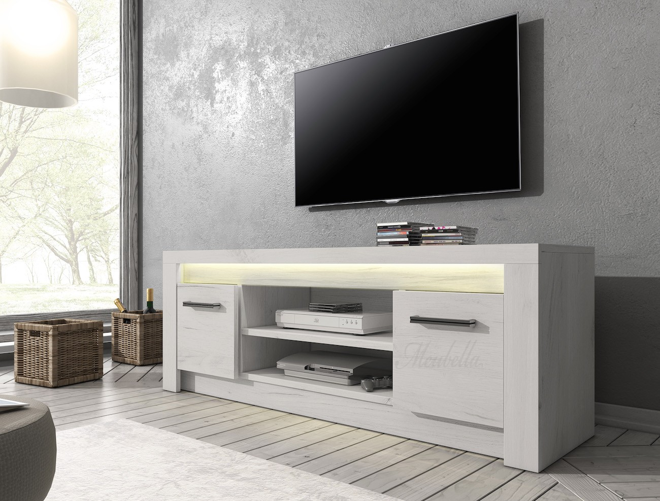 Tv meubel invido wit 137 cm actie meubella for Tv meubel design outlet