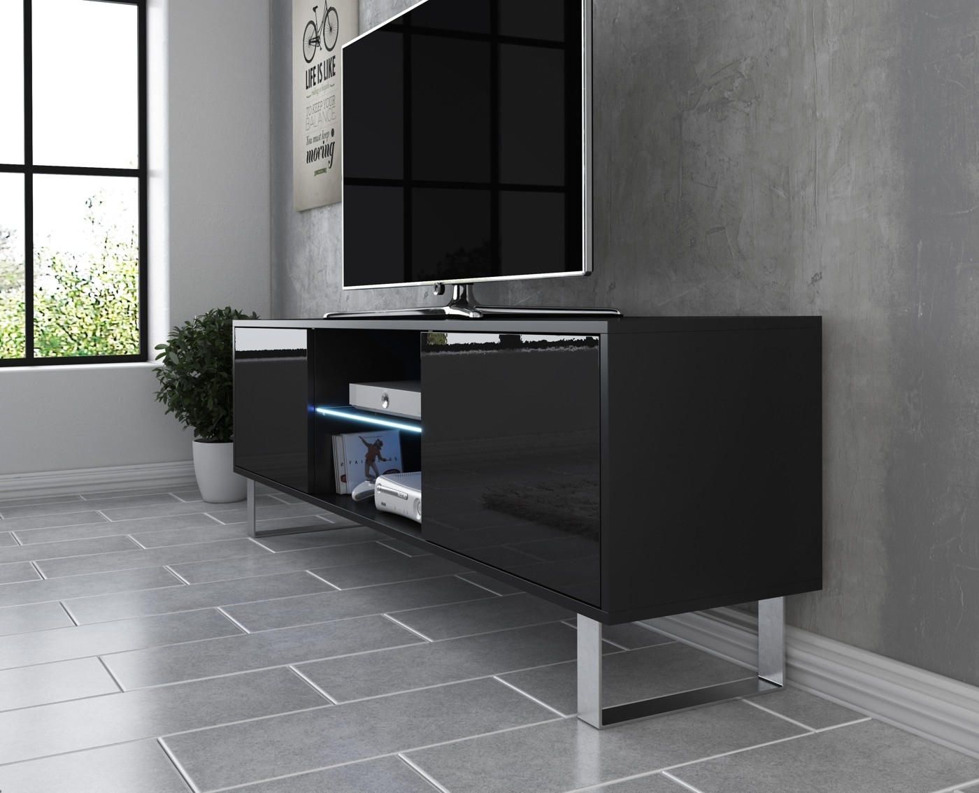 Tv meubel knight 2 zwart 160 cm meubella for Showroommodellen design meubels