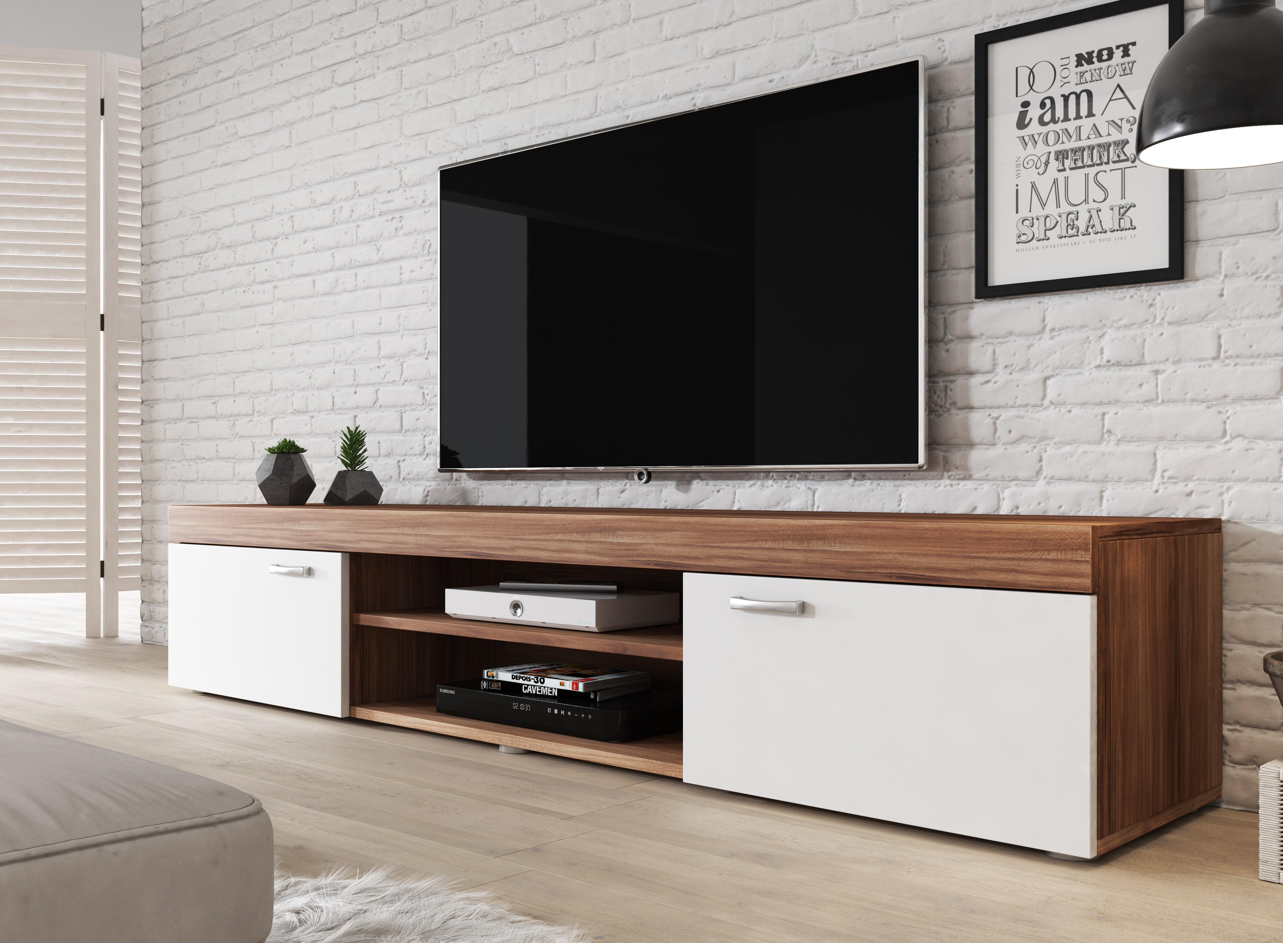 Samsung Tv Met Meubel.Tv Meubel Mantel Eiken Wit 200 Cm Meubella