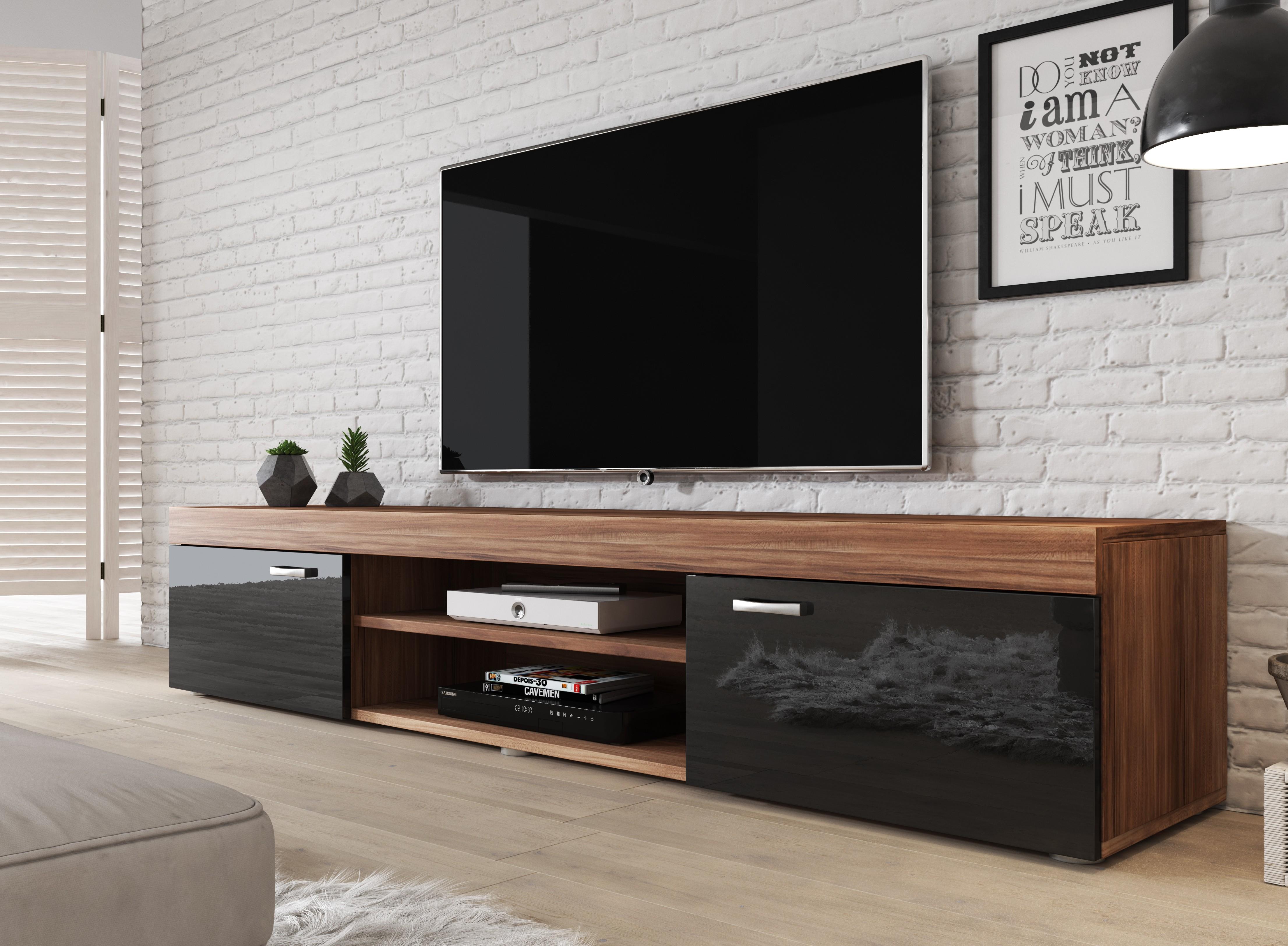 Samsung Tv Met Meubel.Tv Meubel Mantel Eiken Zwart 200 Cm Meubella