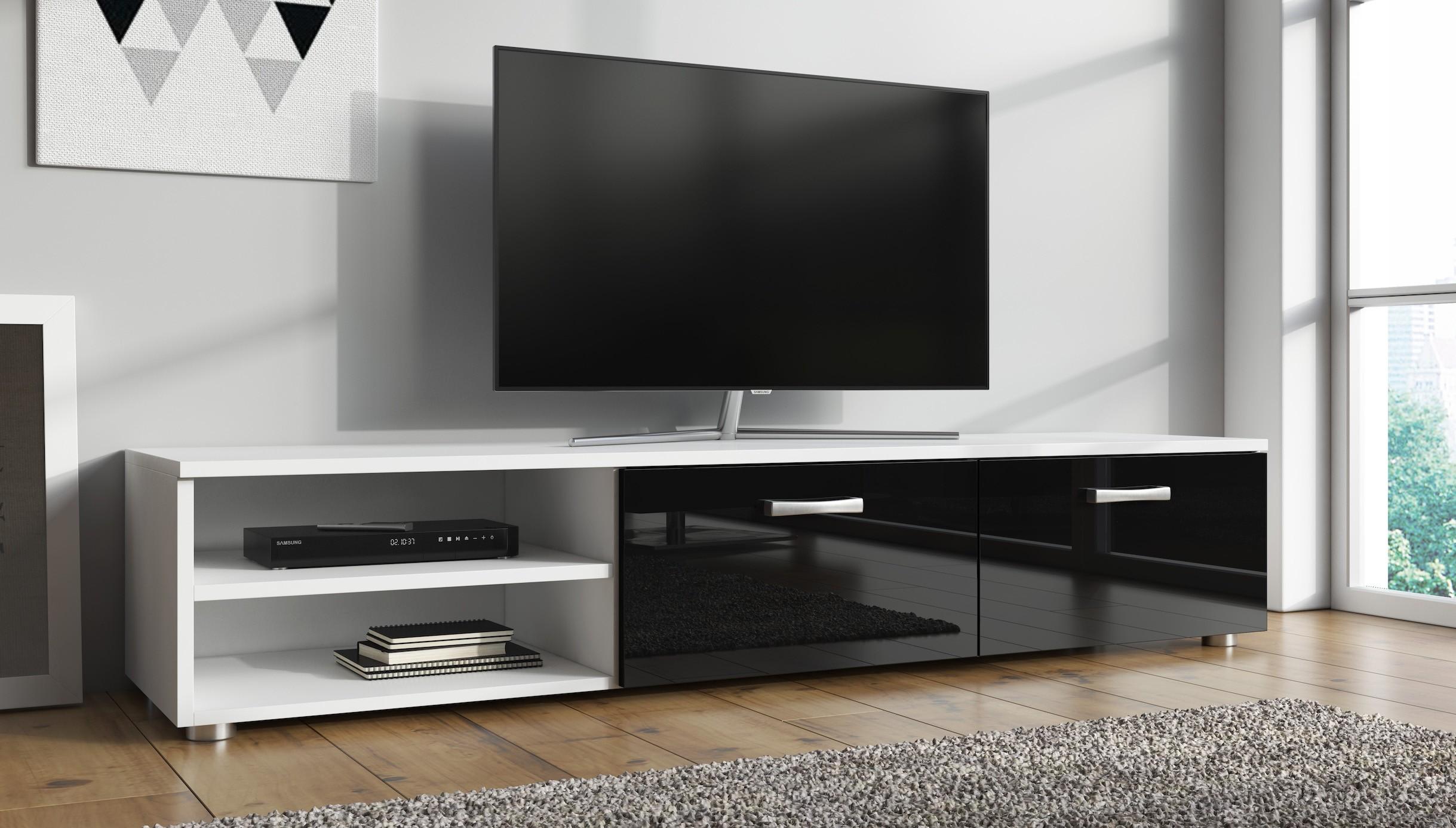 Tv Kast Zwart Wit.Tv Meubel Memphis Zwart Wit 144 Cm Meubella