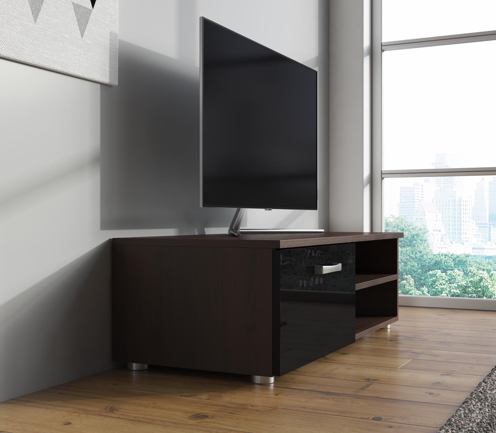 Tv meubel memphis klein zwart donker eiken 96 cm for Showroommodellen design meubels