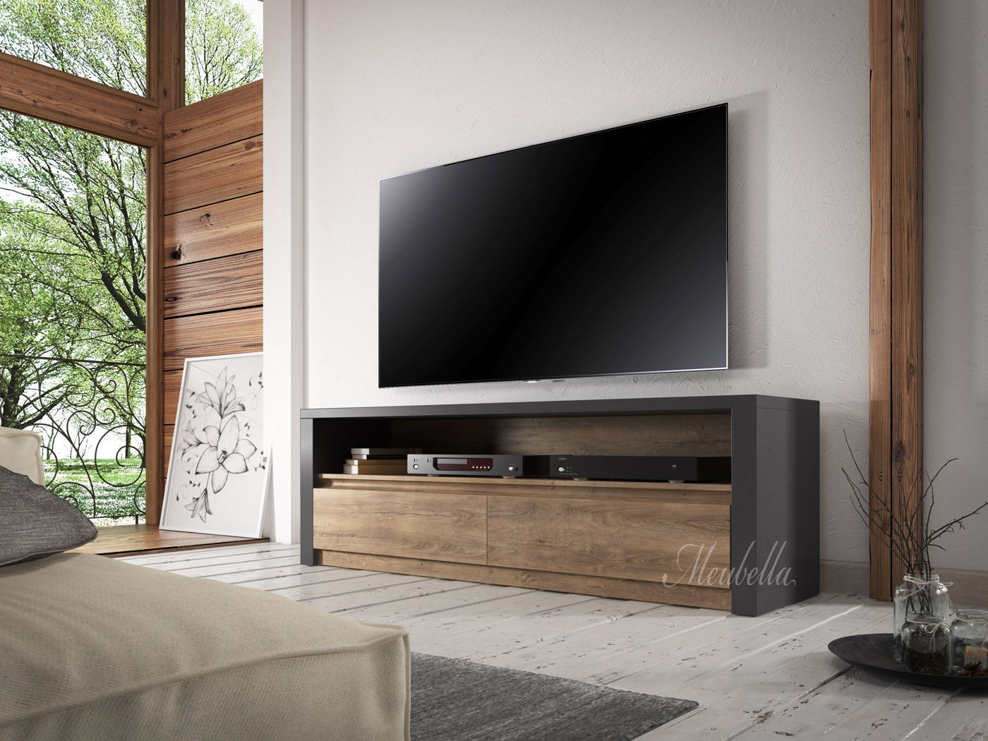 tv meubel monaco eiken grijs 130 cm meubella. Black Bedroom Furniture Sets. Home Design Ideas