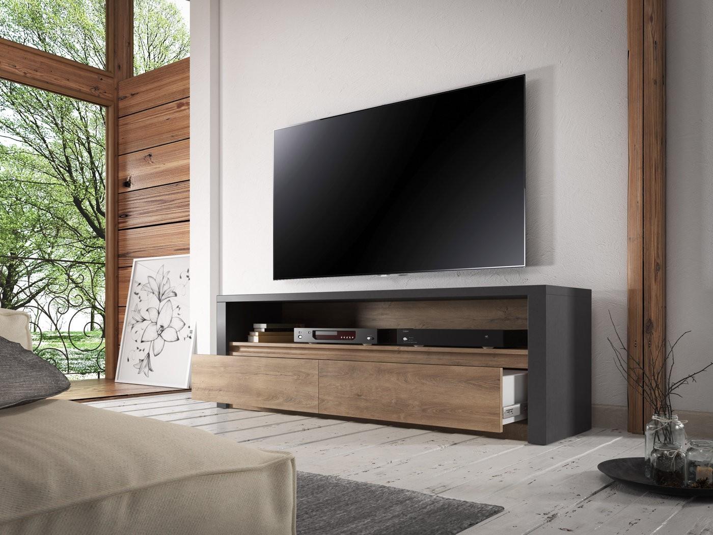 Tv meubel monaco eiken grijs 130 cm meubella for Showroommodellen design meubels
