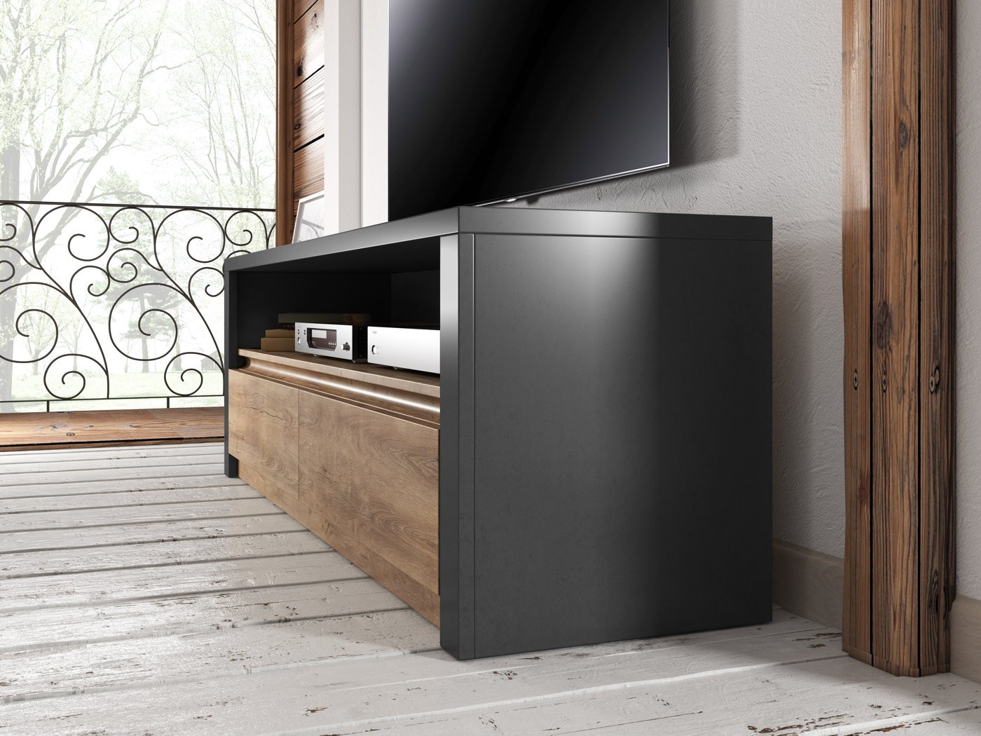 tv meubel monaco eiken grijs 130 cm tv meubels