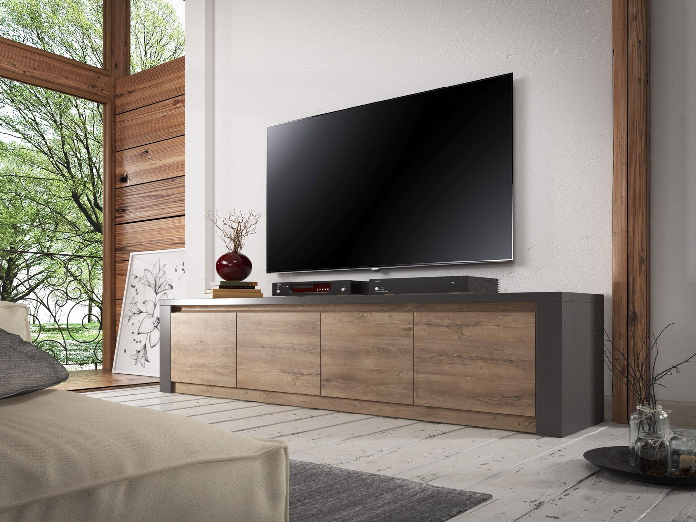 tv meubel monaco eiken grijs 4 vakken 170 cm. Black Bedroom Furniture Sets. Home Design Ideas