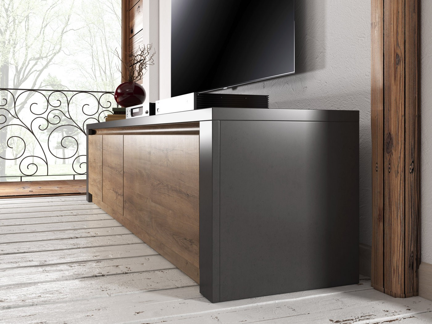 tv meubel monaco eiken grijs 4 vakken 170 cm tv. Black Bedroom Furniture Sets. Home Design Ideas