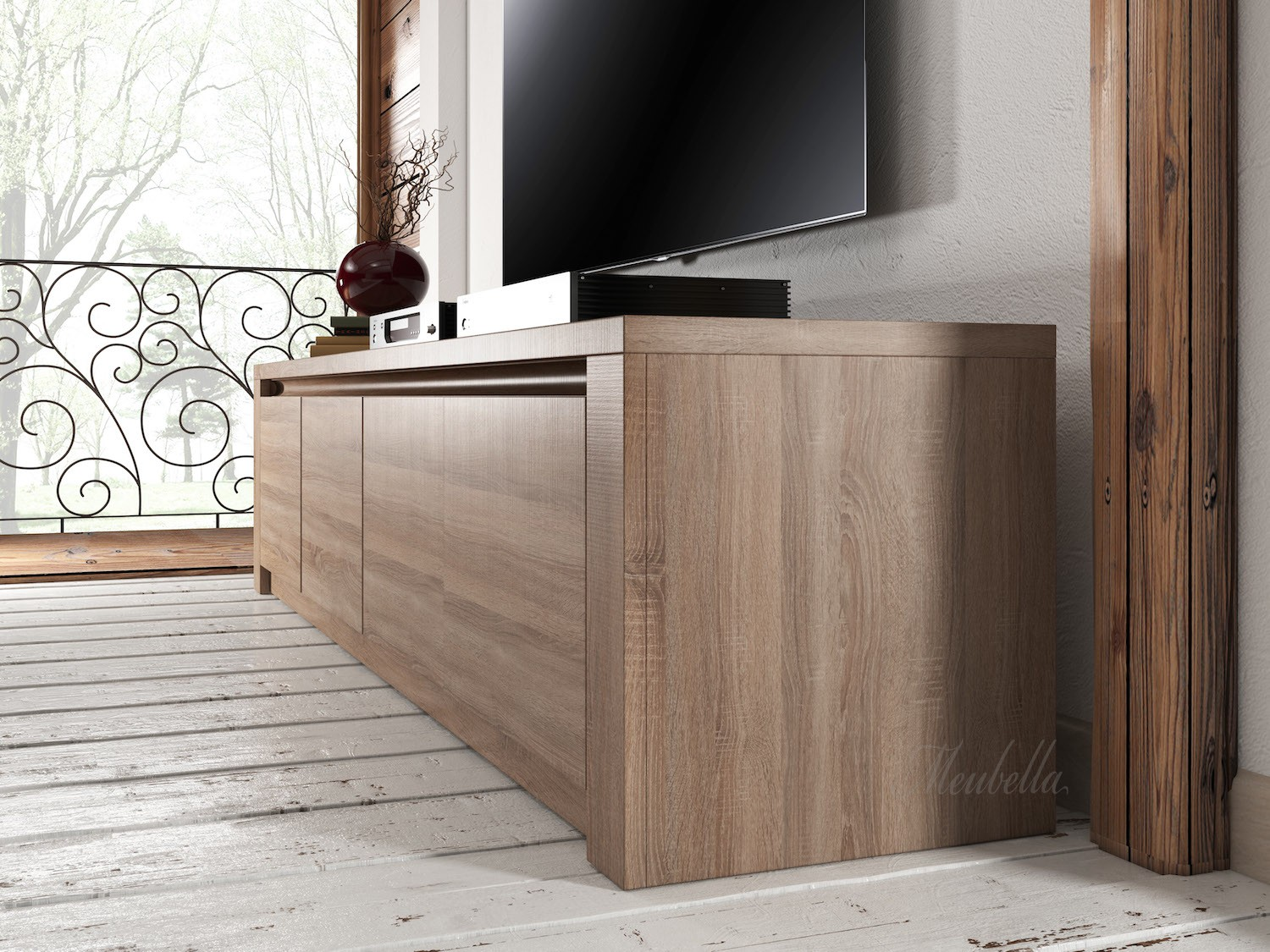 tv meubel monaco truffel eiken 4 vakken 170 cm tv. Black Bedroom Furniture Sets. Home Design Ideas