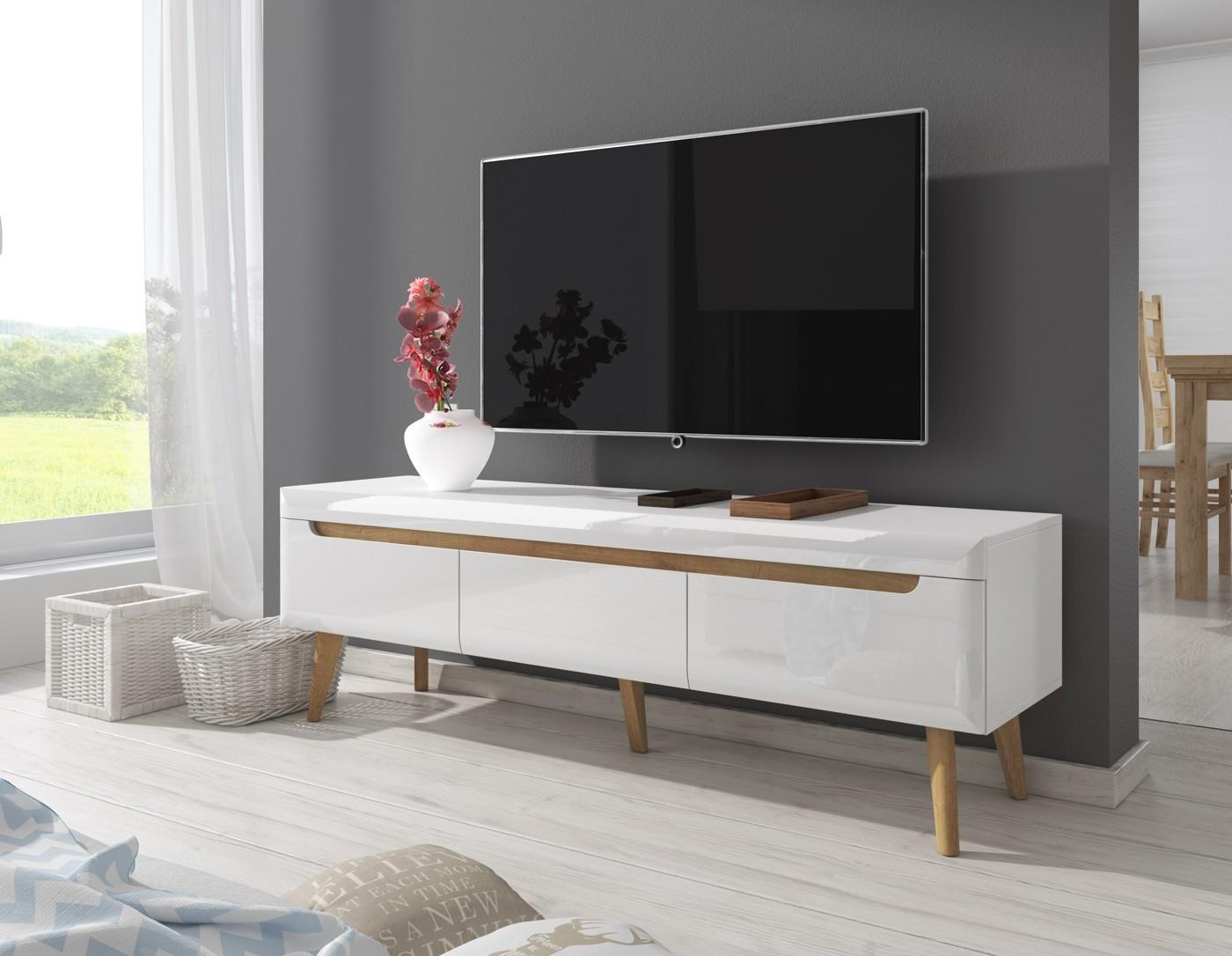 tv meubel nebraska wit eiken 160 cm meubella. Black Bedroom Furniture Sets. Home Design Ideas