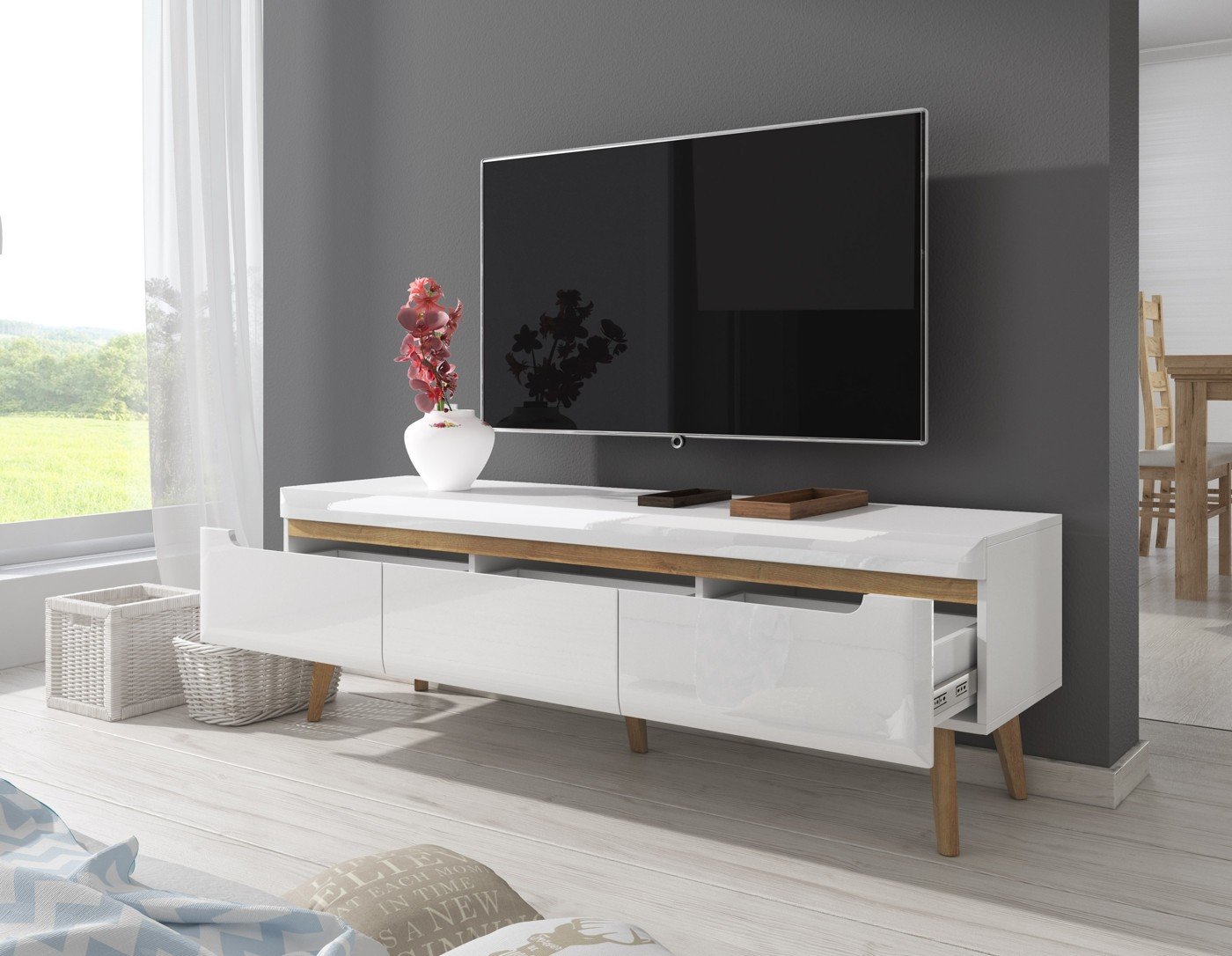 tv meubel nebraska wit eiken 160 cm meubella. Black Bedroom Furniture Sets. Home Design Ideas