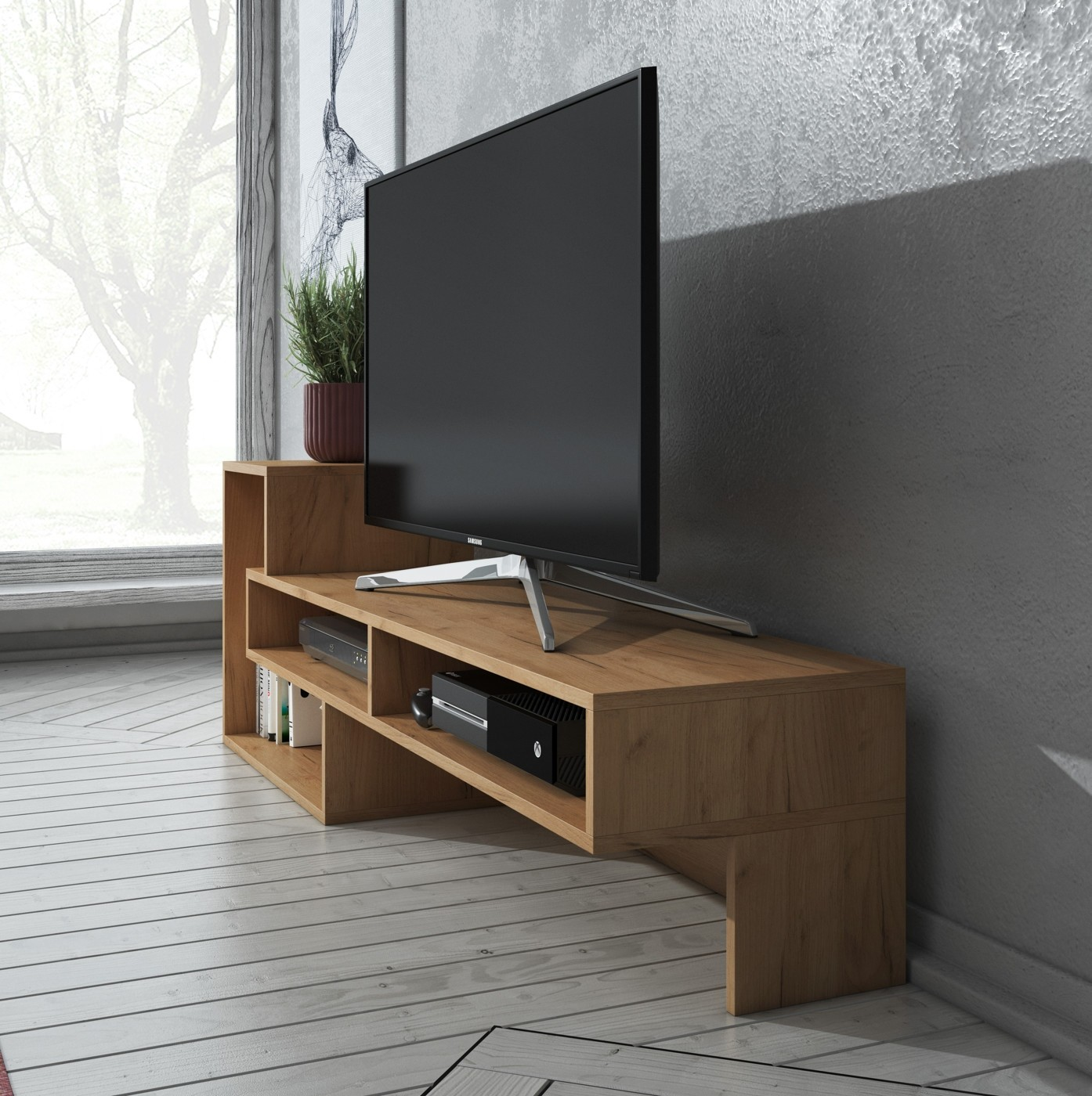 Tv meubel olive eiken meubella for Showroommodellen design meubels