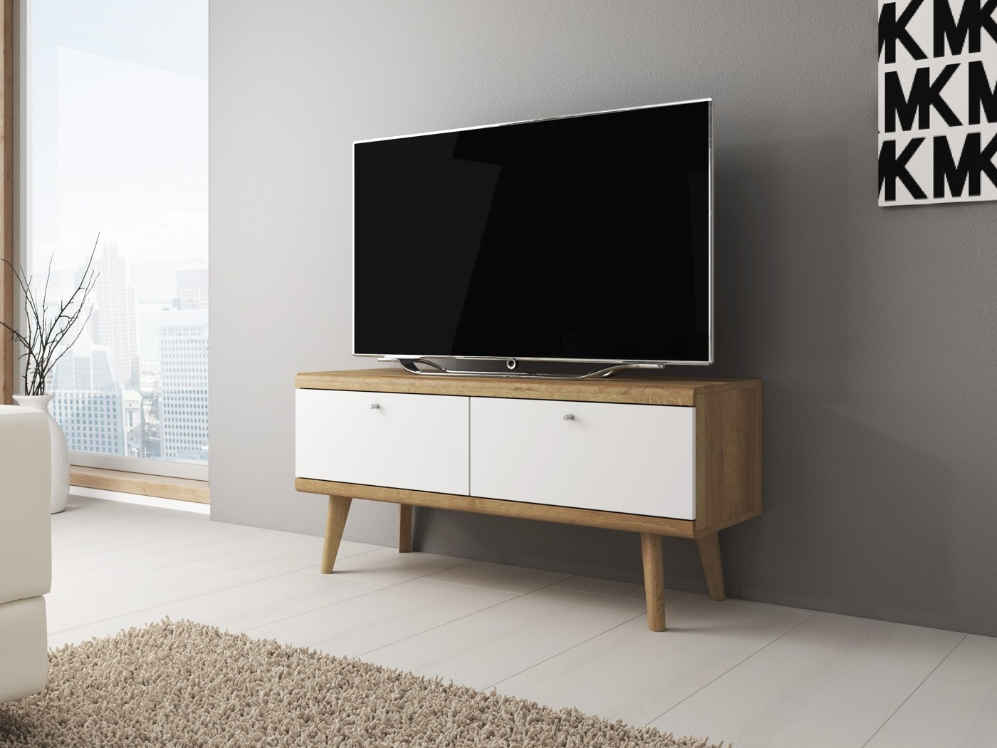 Bed Tv Meubel : Tv meubel primavera wit licht eiken cm actie meubella