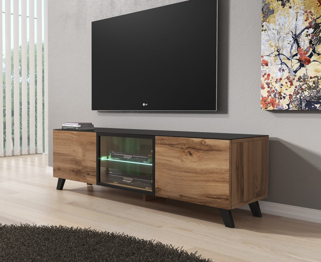 tv meubel triptis eiken zwart 150 cm meubella. Black Bedroom Furniture Sets. Home Design Ideas