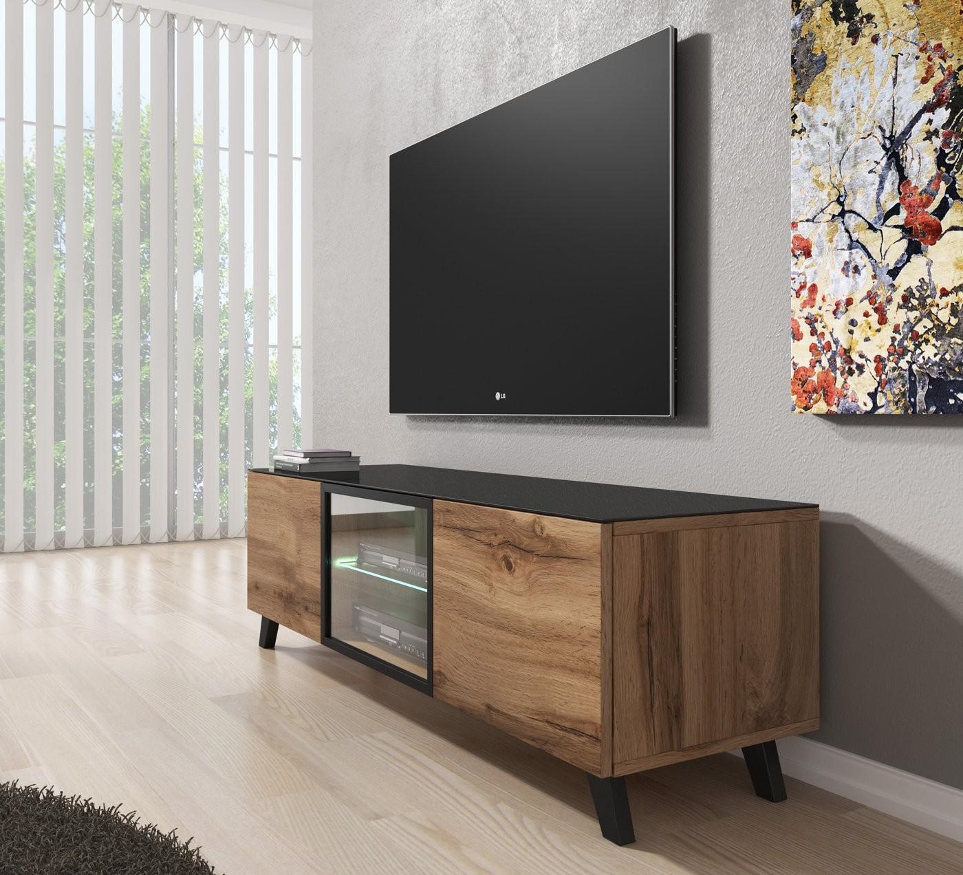 Tv Meubel 150 Cm.Tv Meubel Triptis Eiken Zwart 150 Cm Actie Meubella