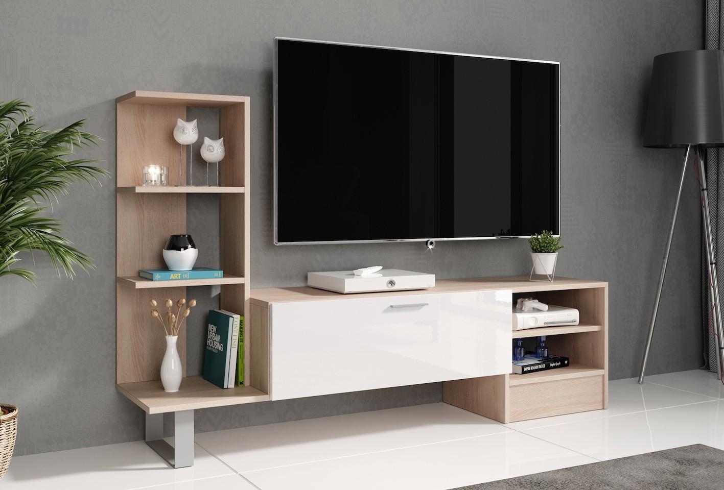 Computer En Tv Meubel.Tv Meubel Yento Licht Eiken Wit 152 Cm Meubella