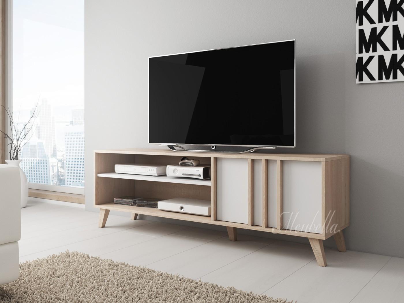 Licht Eiken Meubelen : Tv meubel mira wit licht eiken cm meubella
