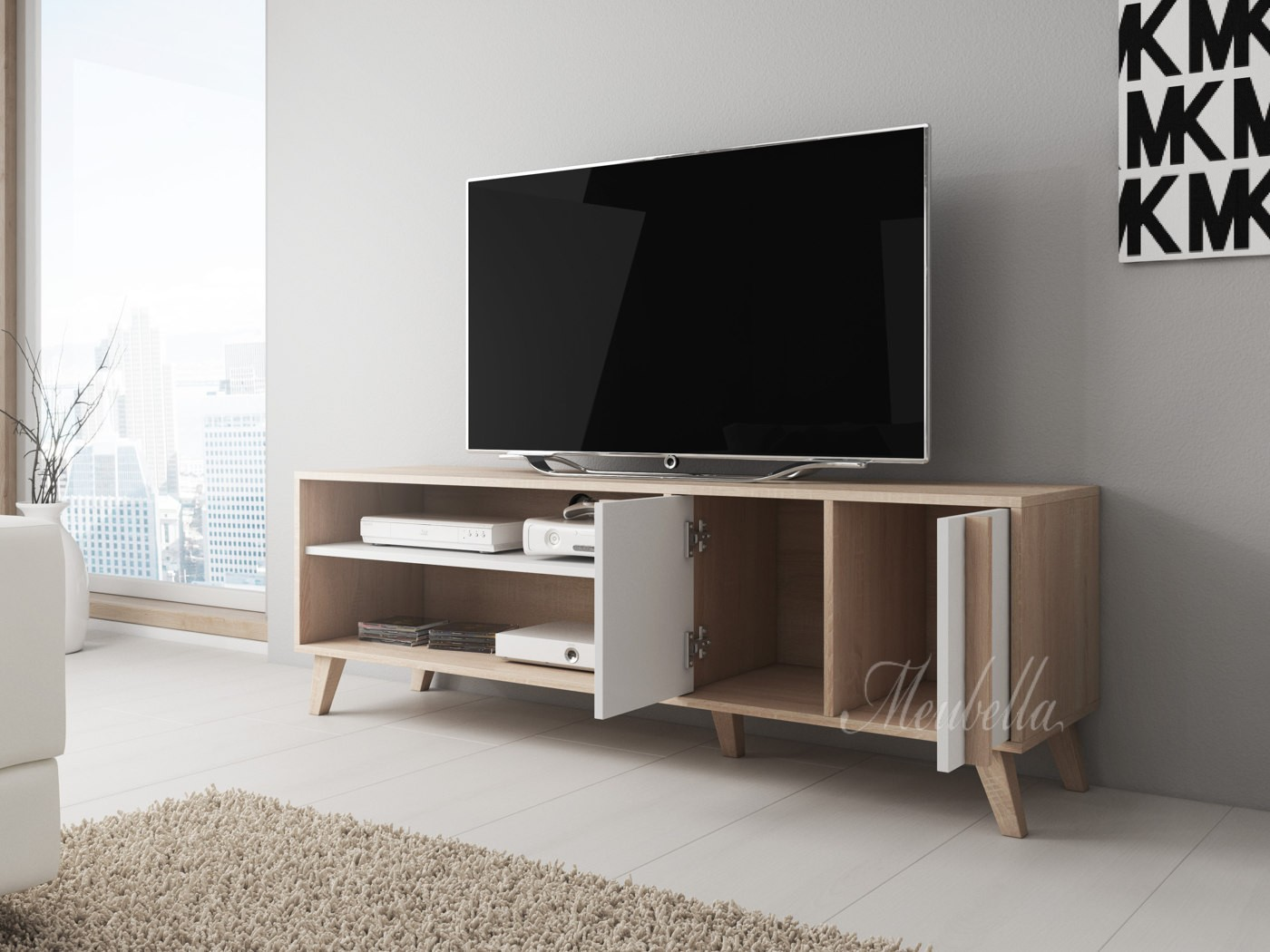 tv meubel mira wit licht eiken 150 cm meubella. Black Bedroom Furniture Sets. Home Design Ideas