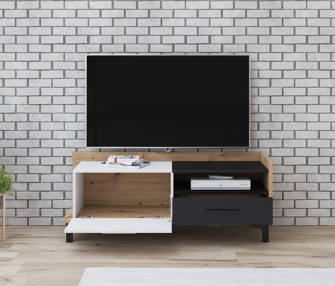 Tv Meubel 125.Tv Meubel Bust Eiken Wit Zwart 125 Cm Meubella