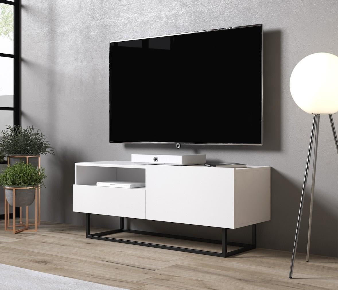 Tv Kast Wit Modern.Tv Meubel Eos 2 Wit 120 Cm Meubella