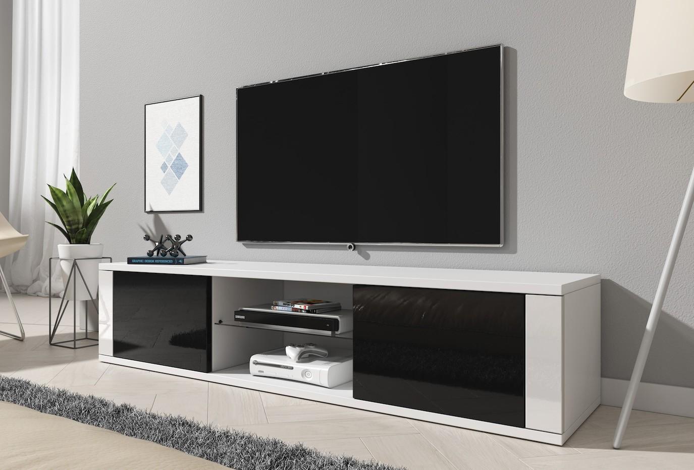 Tv Kast Zwart Wit.Tv Meubel Henna Wit Zwart 140 Cm Meubella