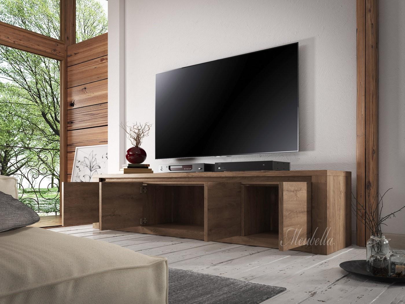 Tv meubel monaco eiken 4 deuren 170 cm meubella for Eiken tv meubel