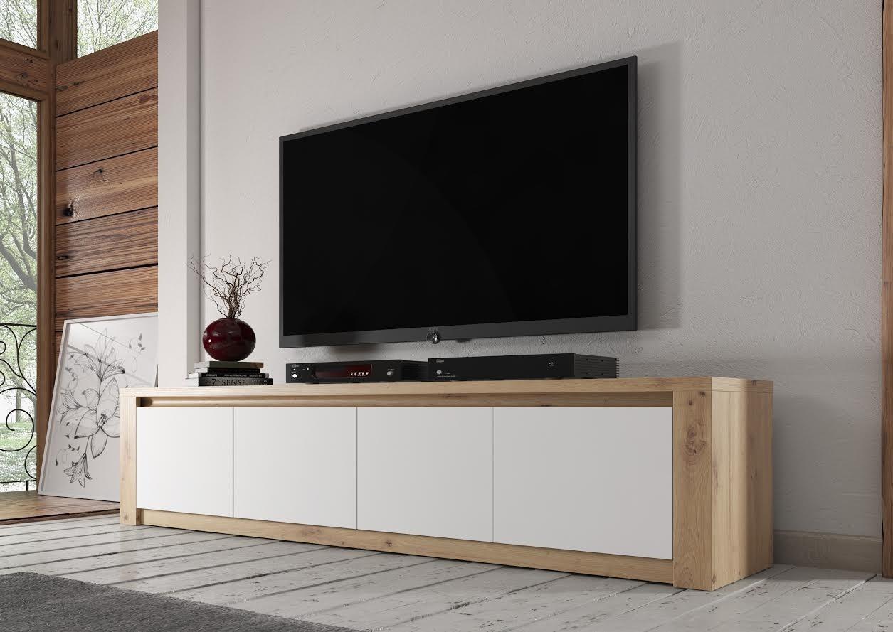 Wit Tv Meubel 90 Cm.Tv Meubel Poseidon Eiken Wit 4 Deuren 170 Cm Meubella