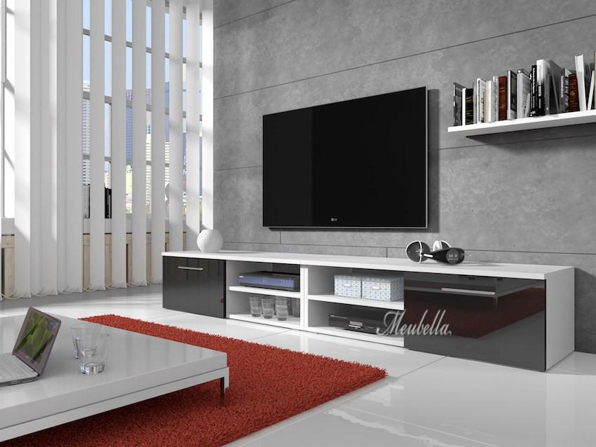 TV meubel Bash II   Zwart   Wit   240 cm   Meubella