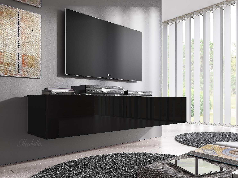 Tv meubel flame zwart 160 cm meubella for Tv meubel design outlet
