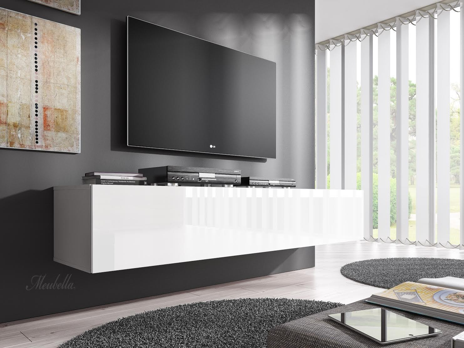 tv meubel flame wit 160 cm meubella. Black Bedroom Furniture Sets. Home Design Ideas