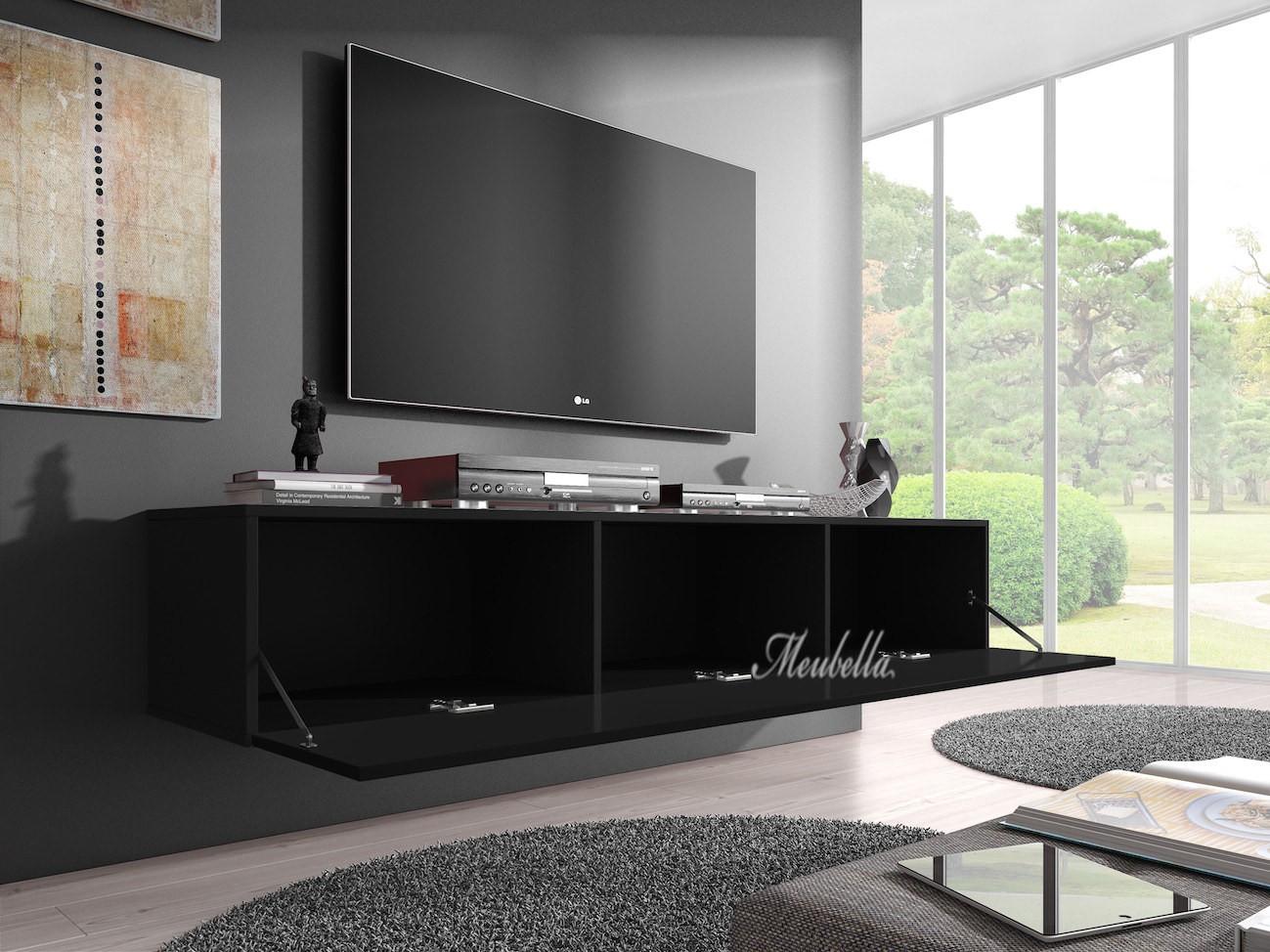 Tv meubel flame   zwart   160 cm   tv meubels   kasten en ...