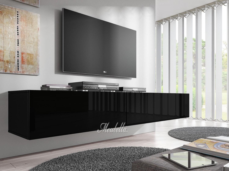 Tv meubel flame zwart 200 cm tv meubels kasten en vitrinekasten woonkamer meubella - Tv hoek meubels ...