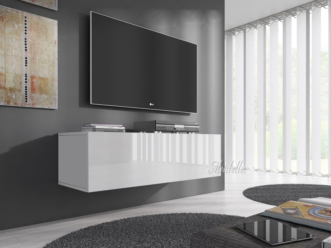 tv meubel flame wit 100 cm meubella. Black Bedroom Furniture Sets. Home Design Ideas