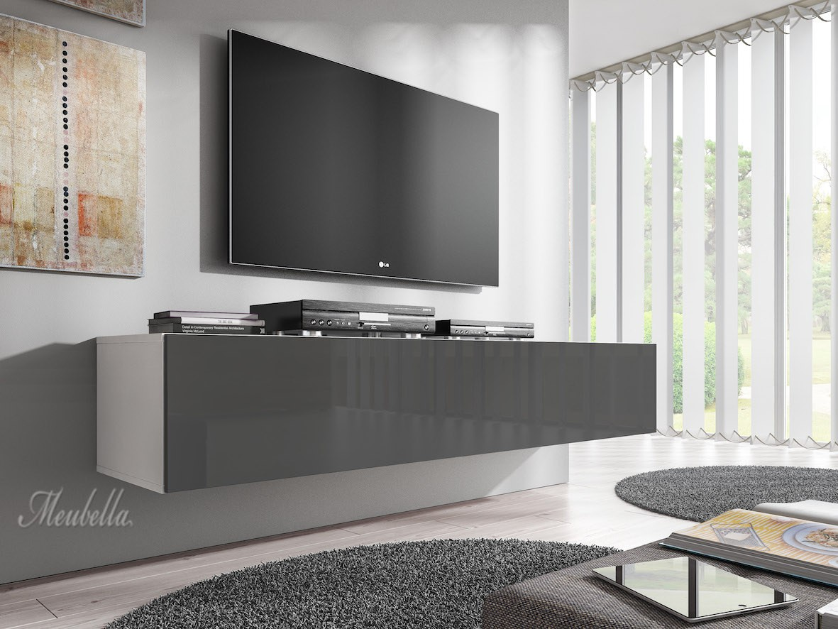 tv meubel flame grijs wit 160 cm meubella. Black Bedroom Furniture Sets. Home Design Ideas