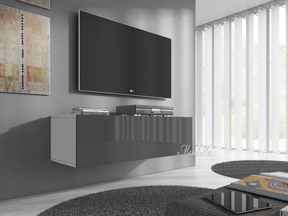 Tv meubel flame   grijs   wit   100 cm   kasten en vitrinekasten ...