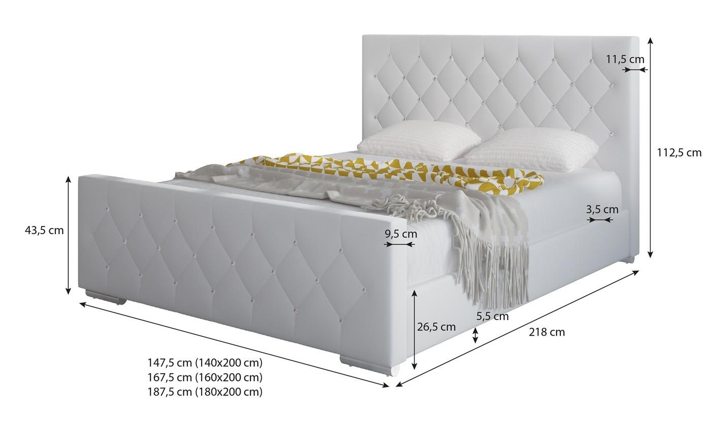 Bed 140x200 Wit.Tweepersoonsbed Aventura Diamond Wit 140x200 Cm Meubella