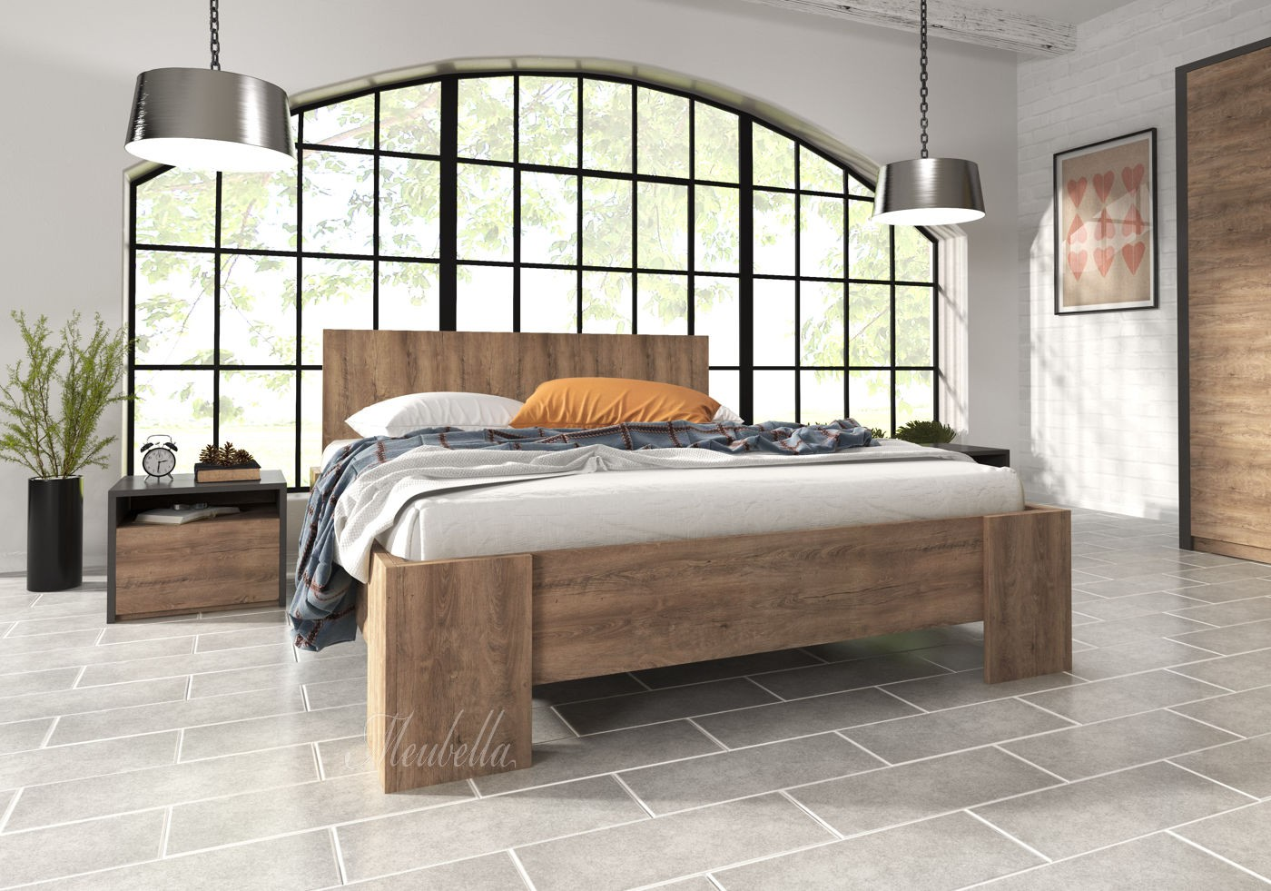 Tweepersoonsbed monaco eiken 160x200 cm for Slaapkamer bed