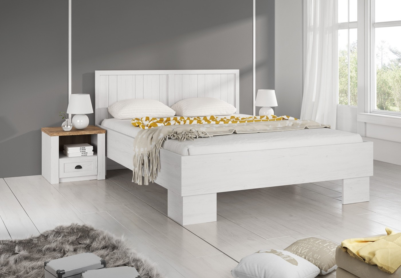 tweepersoonsbed parello wit 160 x 200 cm meubella. Black Bedroom Furniture Sets. Home Design Ideas