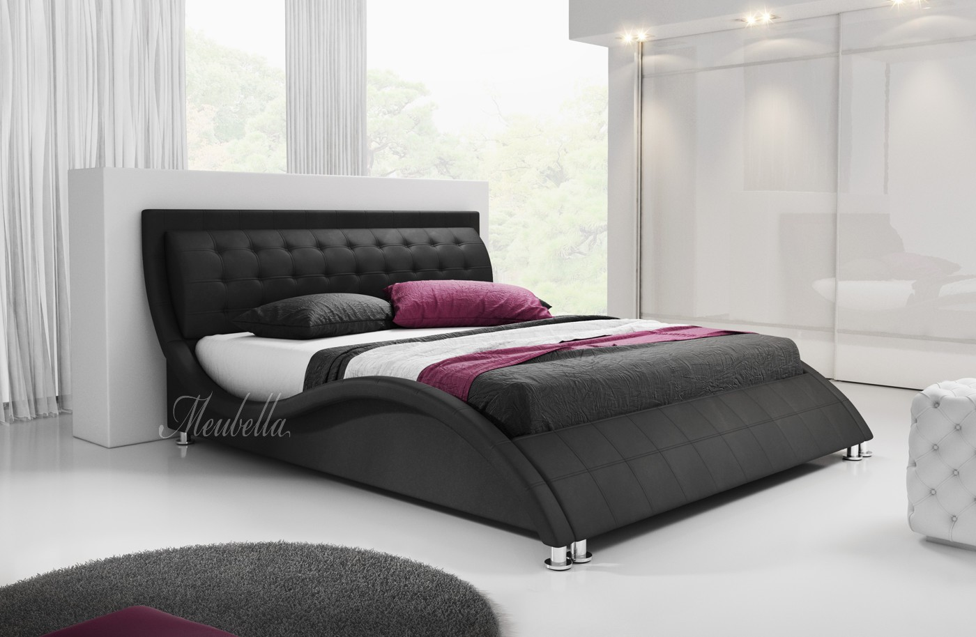 tweepersoonsbed sumoya zwart 160x200 cm meubella. Black Bedroom Furniture Sets. Home Design Ideas