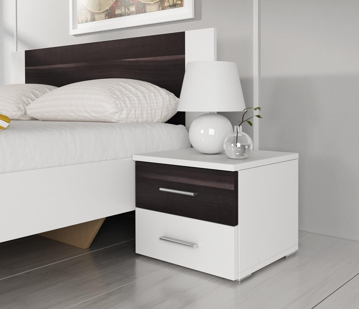 Slaapkamer victor 160 wit zwart eiken klein complete slaapkamers complete kamers - Slaapkamer klein gebied ...