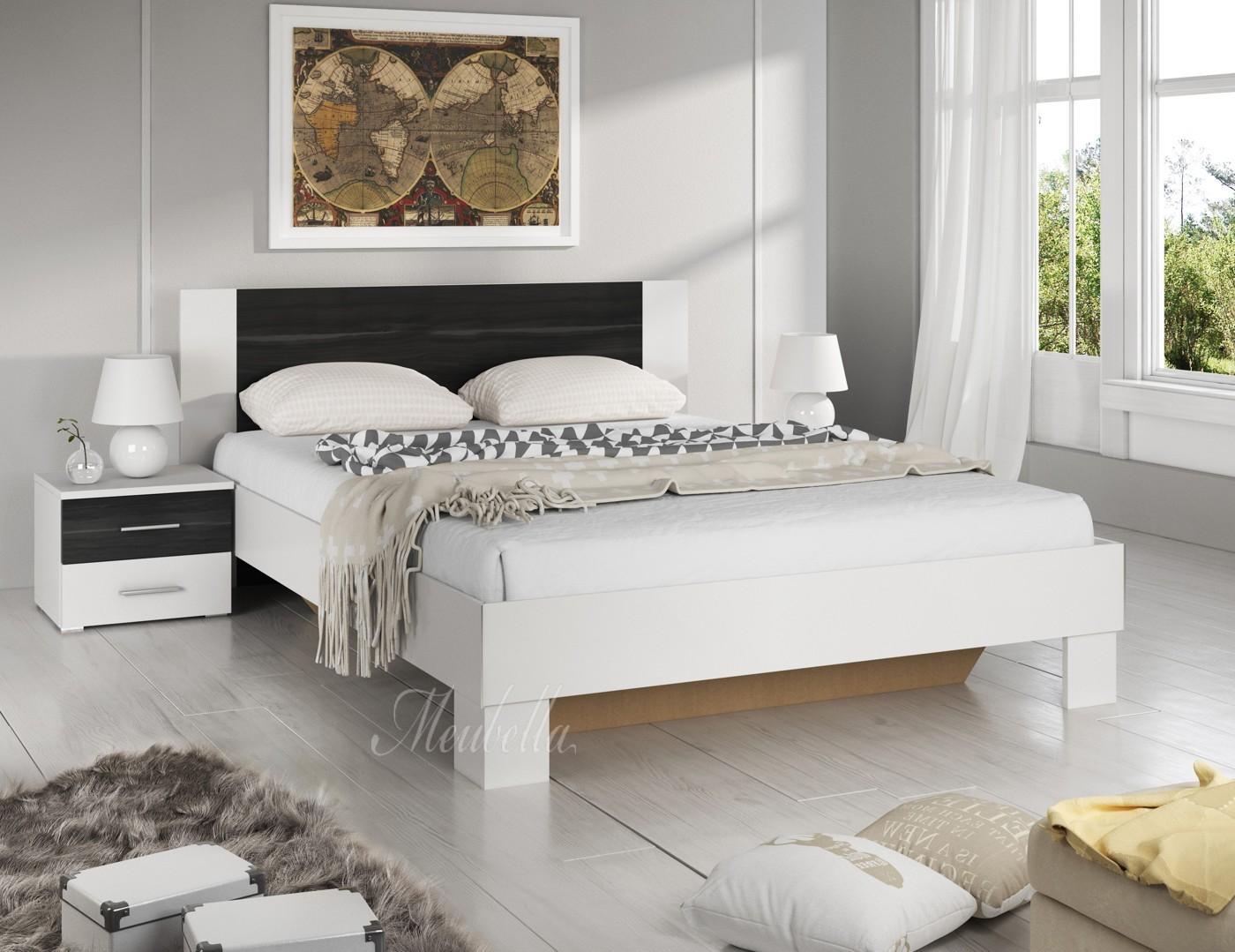 Slaapkamer victor 180 wit zwart groot 180 x 200 for Complete slaapkamers outlet