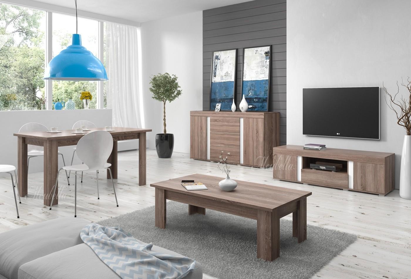 Dressoir alvarez truffel eiken wit 160 cm meubella for Complete woonkamer meubels