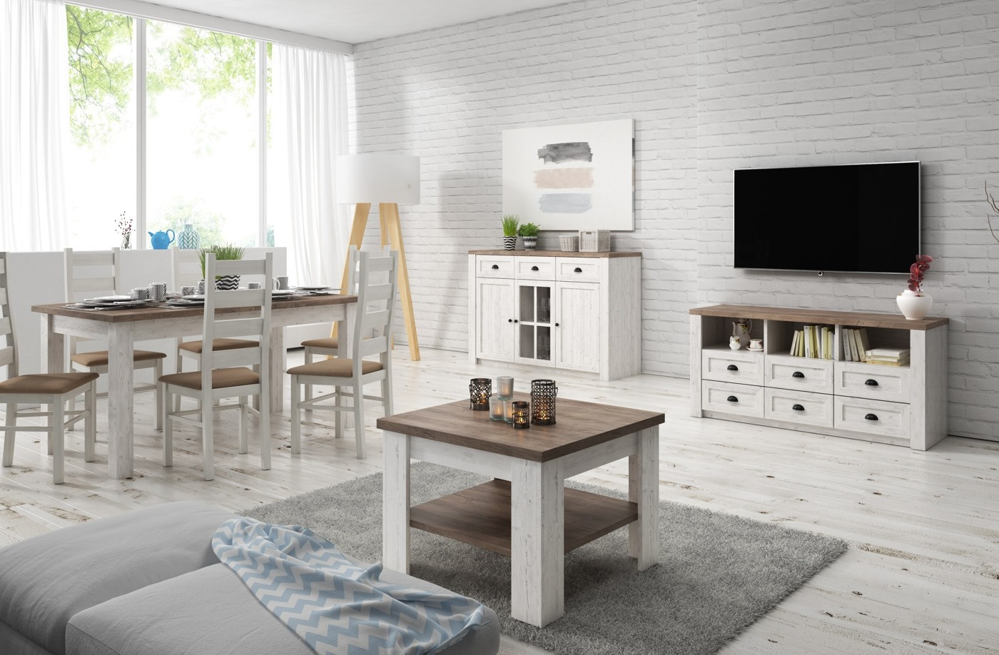 Woonkamer parello 1 wit eiken complete kamers meubella for Woonkamer wit