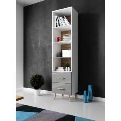 Boekenkast Vyenna - Grijs - Wit - 50 cm