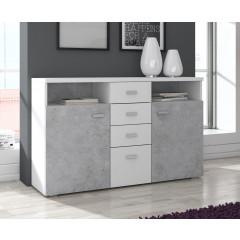 Dressoir Bello - Beton - Wit - 140 cm